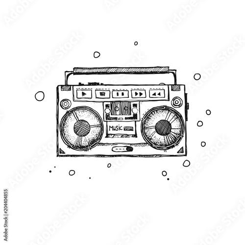 Retro record player. Doodle style modern original illustration ...