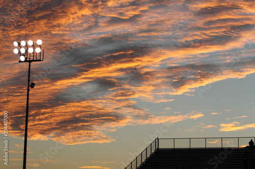 Over the stands sunset