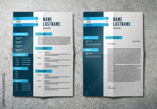 Resume Set With Dark Blue Sidebar Acheter Ce Template