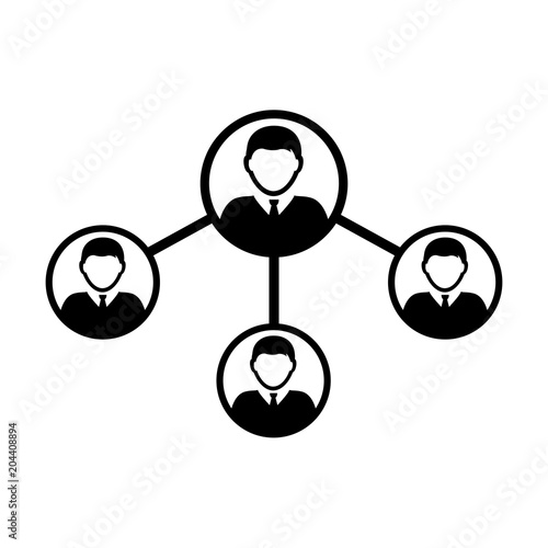 People Network Social Connection Icon Vector With Male Person Avatar