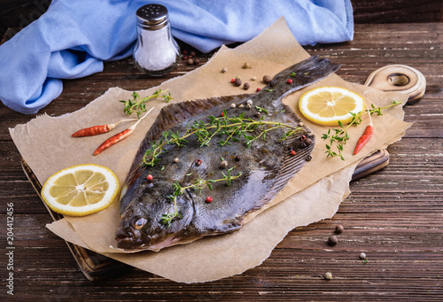 Cooking flounder fish Poster Mural XXL