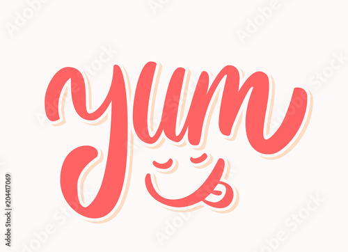 Yum. Yummy word. Vector lettering. Wallpaper Mural