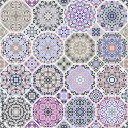 Foto op Canvas Kunstmatig Set of vector seamless arabic patterns. Collection of octagonal and square ornaments. Decorative and design elements for textile, book covers, manufacturing, print, gift wrap.