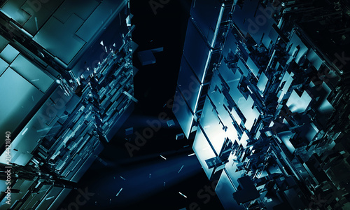 Photo 3D rendering of abstract technology background