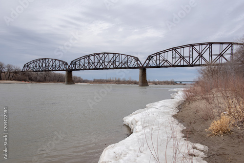 Railroad Bridge in North Dakota Fototapeta
