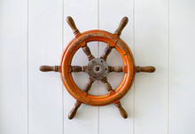 Old Boat Steering Wheel Mounte...