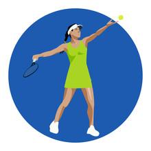 Vector Tennis Player Girl