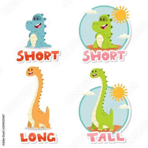 93db935f06b3 Opposite words Short and Tall, Long. Vector cartoon illustration ...