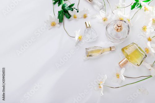 Natural perfume concept bottles of perfume with white flowers natural perfume concept bottles of perfume with white flowers floral fragrance mightylinksfo