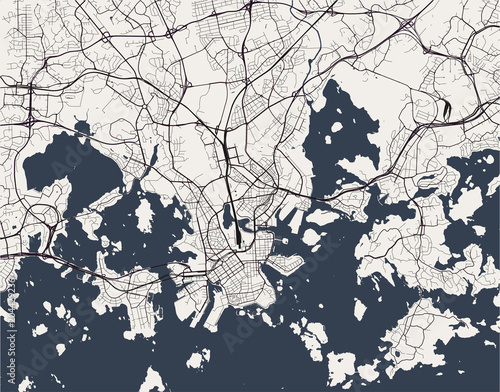 Canvas Print vector map of the city of Helsinki, Finland