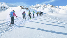 Group Of Touring Skiers Whit A...