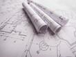 Blueprint rolls. Engeneering drawings.
