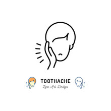Toothache Icon, Dental Pain Sign. Man With Toothache Jaw Pain, Dental Diseases. Vector Flat Illustration