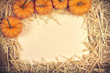 Above View Of Mini Pumpkins On...