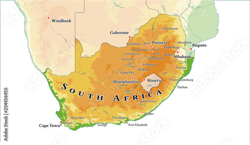 Republic of South Africa physical map. Fototapet