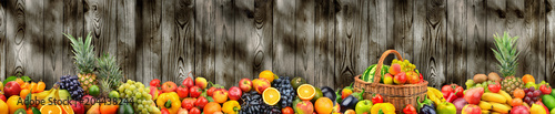 Poster Vruchten Panoramic photo healthy vegetables and fruits on background dark wooden wall.