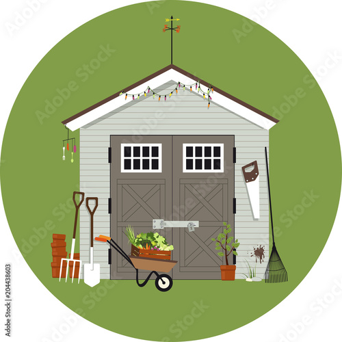 Fotomural Garden shed with gardening tools around it, EPS 8 vector illustration, no transp