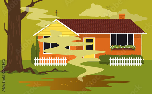 Puddle of sewage in a backyard of a house coming from a failed septic tank,  EPS Canvas-taulu