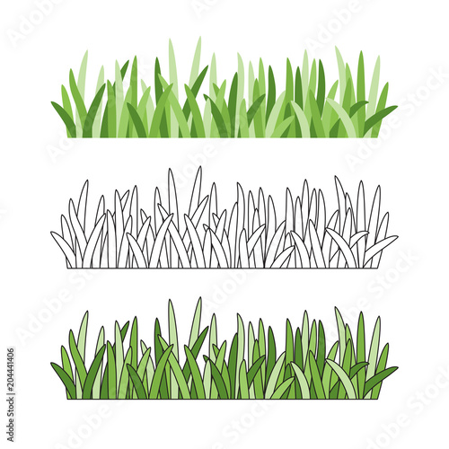 Set of grass tufts, clip art, transparent background Wallpaper Mural