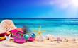Leinwandbild Motiv Beach Accessories With Seashells On Seashore - Summer Holidays