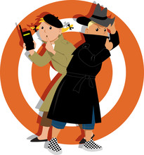 Little Kids Playing Secret Agents Cartoon Characters, EPS 8 Vector Illustration