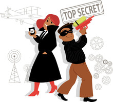 Girl And Boy In Costumes Of Secret Agents At The Theme Party, EPS 8 Vector Illustration