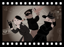 Three Kids Playing Secret Agents In An Old Movie Frame, EPS 8 Vector Illustration