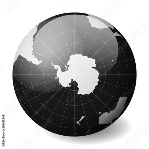 Fotografía Earth globe with white world map and black seas and oceans focused on Antarctica and South Pole