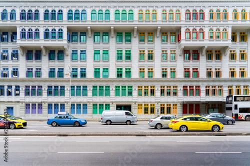 Papiers peints Pays d Afrique Colorful heritage building windows in Singapore. Neoclassical style building with colorful windows in Singapore.