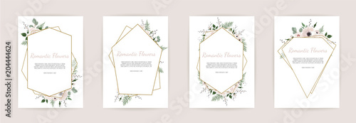 Obraz set botanic card with wild flowers, leaves. Floral poster, invite. - fototapety do salonu