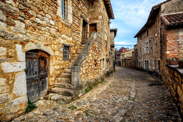 Fototapeta Perouges, a medieval old town near Lyon, France
