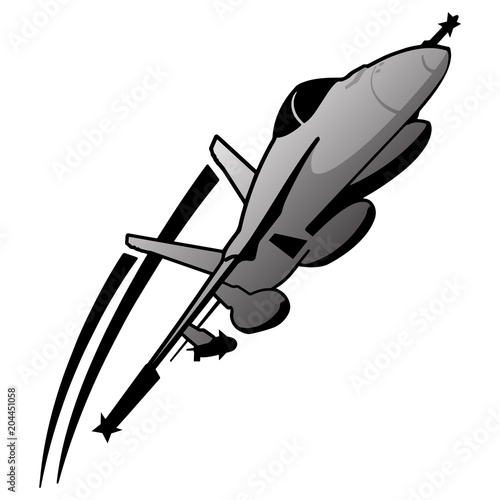 Photo  Military Fighter Jet Airplane Vector Illustration