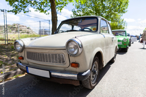 Photo German trabant car stands on a street