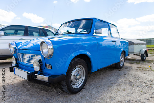 German trabant car stands on a street Canvas Print