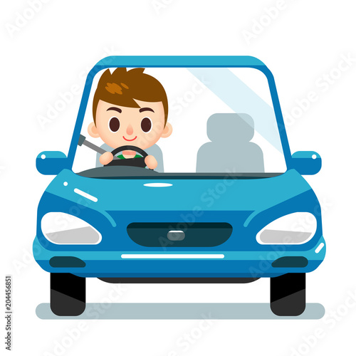Spoed Foto op Canvas Cartoon cars Vector male character driving a car