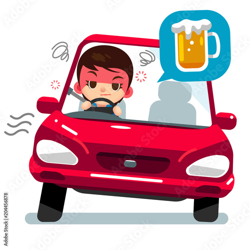 Staande foto Cartoon cars Vector drunk female character driving a car