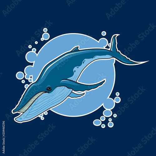 Fotografie, Obraz  vector whale sticker