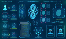 Biometric Identification Or Recognition System Of Person, Line Icons Of Identity Verification Sign