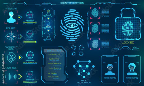 Photo Biometric Identification or Recognition System of Person, Line Icons of Identity