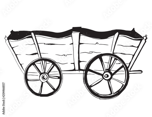 Vector Illustration Of An Horse Wagon Old Vehicle Cartoon Vintage