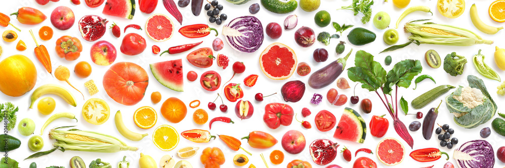 Obraz pattern of various fresh vegetables and fruits isolated on white background, top view, flat lay. Composition of food, concept of healthy eating. Food texture. fototapeta, plakat