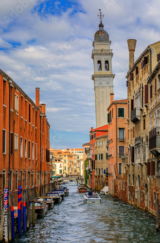 Poster Brugge Facades of a typical old buildings along Grand Canal of Venice Italy