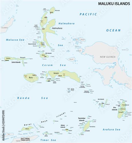 Detailed map of the Indonesian island groups of the Moluccas ...