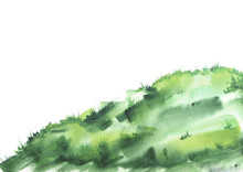 Green Grass, Lawn, Field With Watercolor. On White Isolated Background. Beautiful Vintage Pattern For Your Design. Green Scenic Slope, Watercolor Landscape, Silhouette.