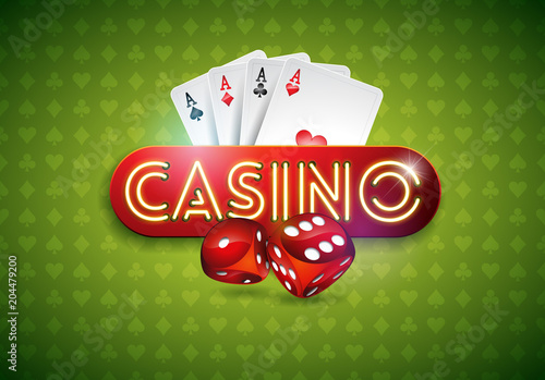 Vector illustration on a casino theme with shiny neon light letter and poker cards on green background плакат