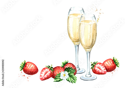 Two glasses of champagne and fresh strawberry template. Watercolor ...