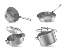Pans Set Isolated On Wwite