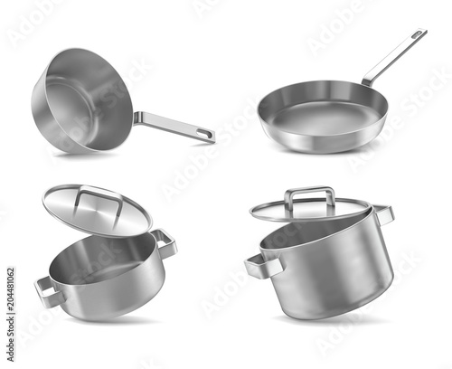 pans set isolated on wwite Canvas
