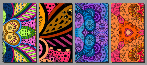 Set of decorative zentangle multicolor business card with ornament Canvas Print
