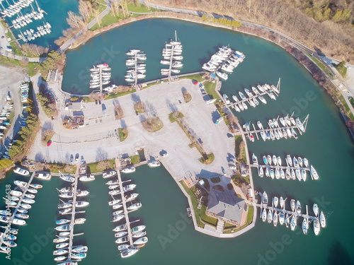 Beautiful boats  Aerial view of boats in morning Ontario